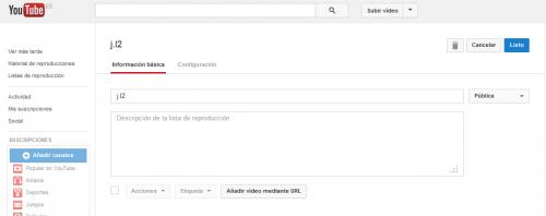 Crear listas de reproducción en Youtube