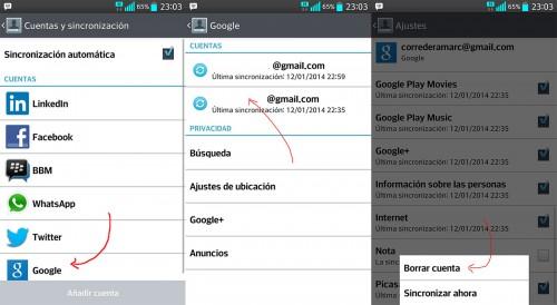 Borrar Gmail en tu teléfono Android