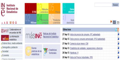 Página de estadísticas INE