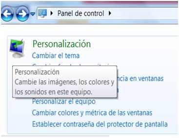 Opciones de personalización en Windows 7