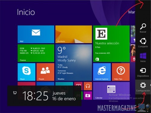 Cambiar el idioma y la hora con Windows 8