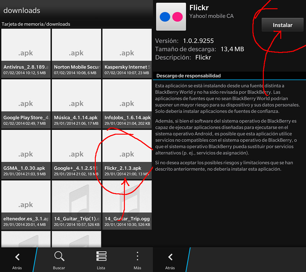 Cómo instalar aplicaciones apk con BlackBerry 10