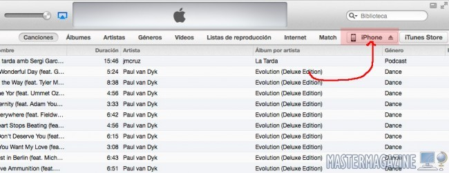 Sincronizar iTunes por Wi-Fi con iPhone 5c / iPhone 5s