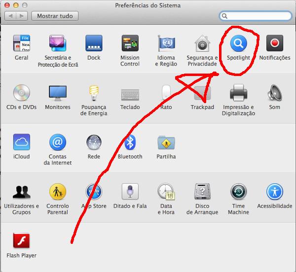 Las Preferencias del sistema del Mac, donde podemos ver perfectamente marcada la opción de Spotlight
