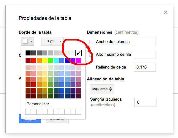Deberemos seleccionar el color blanco para los bordes de la tabla