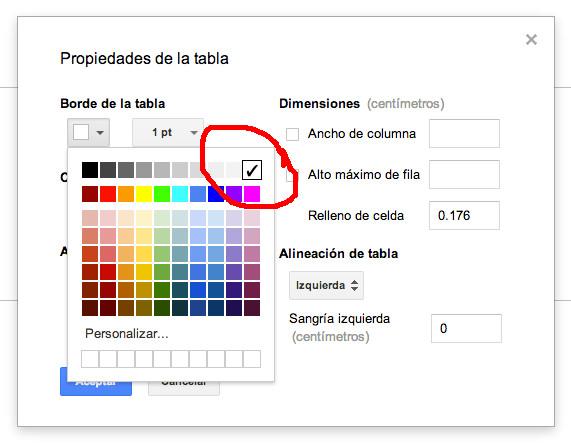 Deberemos seleccionar el color blanco para los bordes de la tabla