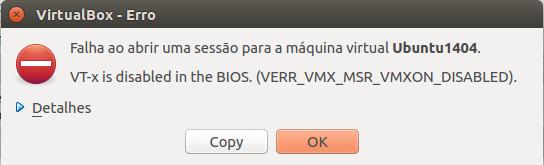 Si no tenemos activada la tecnología de virtualización, podemos ver un error como este cuando intentemos trabajar con un software de virtualización como es VirtualBox