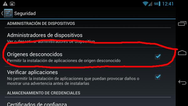 Elemento que tenemos que marcar para poder instalar aplicaciones de fuera de la Play Store