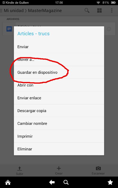 Trabajar con ficheros fuera de línea en Google Docs