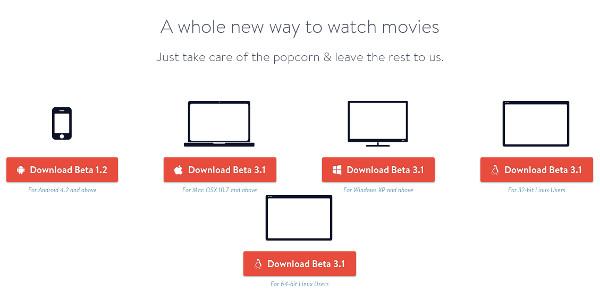 Todas las opciones de descarga de Popcorn Time
