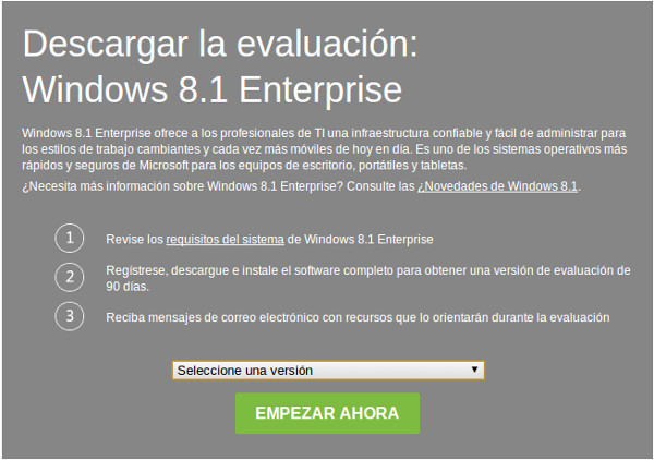 Probar gratuitamente Windows 8.1