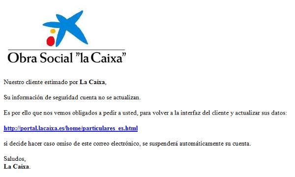 Un mensaje supuestamente enviado por La Caixa, entidad financiera líder en España