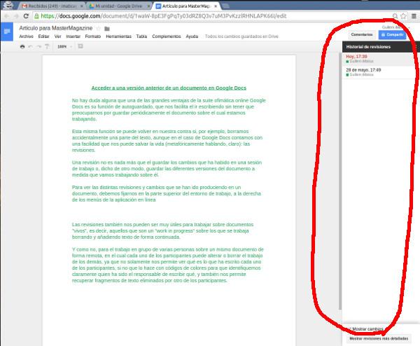Esta es el área lateral donde podemos acceder a las distintas revisiones y versiones delas que ha sido objeto el documento