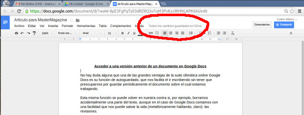 Aquí podemos ver donde tenemos queir a buscar las revisiones de cualquier documento de Google Docs