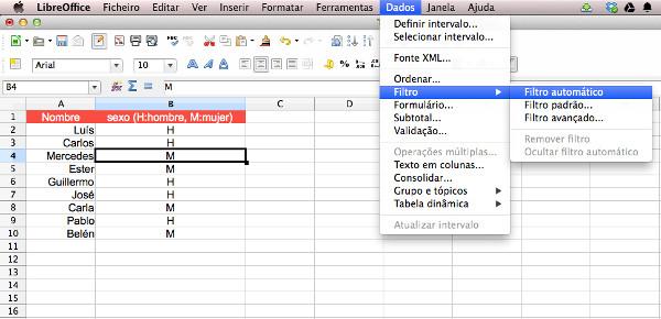 Opción a seleccionar para aplicar un filtro automático en LibreOffice