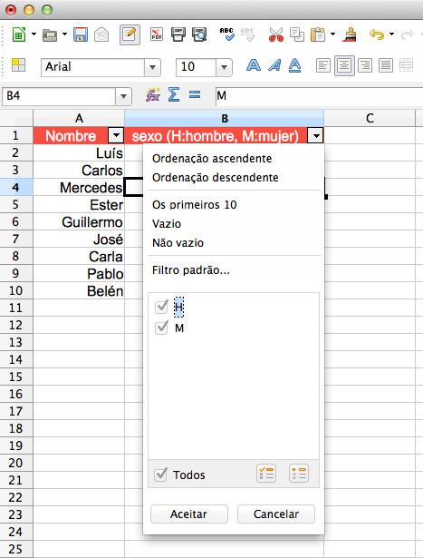 Filtrando por la columna correspondiente al sexo, cuyo valor puede ser H (hombre) o M (mujer)