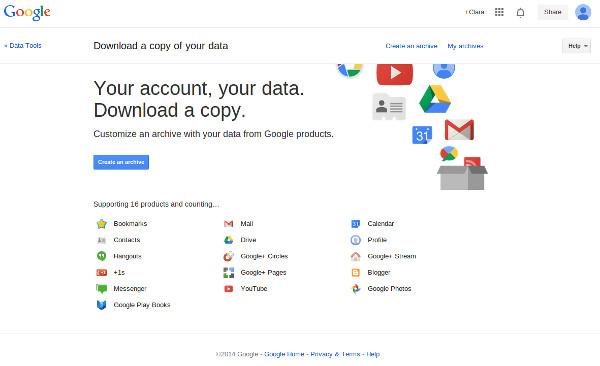 Google Takeout nos recibe dándonos información sobre lo que ofrece