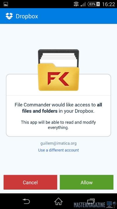 En el caso de Dropbox, como ya tenía la app de dicho sistema instalada y configurada, simplemente he tenido que permitir que File Commander la utilice para acceder al espacio de la cuenta