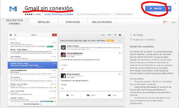 Trabajar offline con Gmail dentro del navegador Chrome