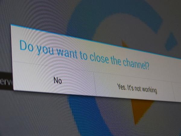 Cuando salimos de un canal, tenemos la opción de indicar si es que ha sido porque no funciona