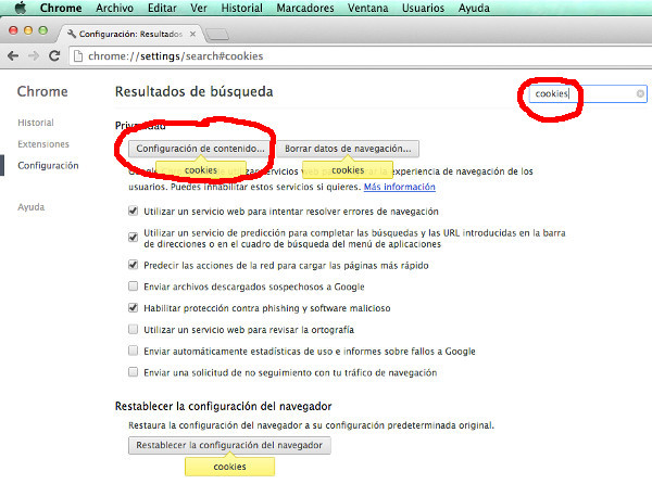 Borrar cookies selectivamente en Chrome