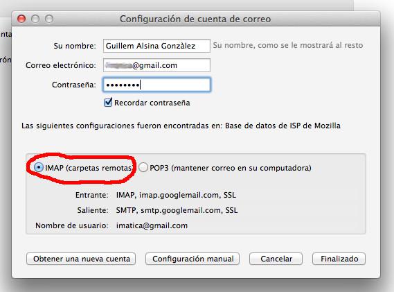 La modalidad de consulta del correo contra el servidor que recomiendo es la IMAP