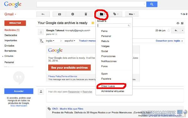 Creando una nueva carpeta para alojar mensajes de correo en Gmail