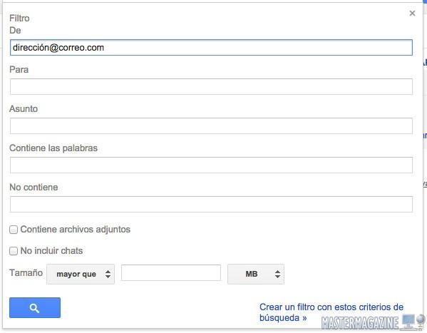 En este ejemplo, hemos introducido una dirección de remitente que será el objeto del filtro