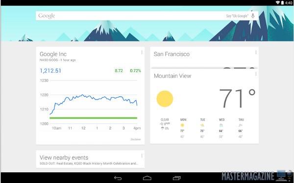 El asistente Google Now tal y como se ve en un tablet