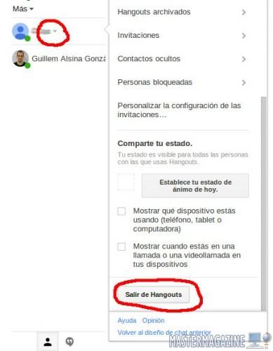 Esconder el menú de Hangouts en Gmail