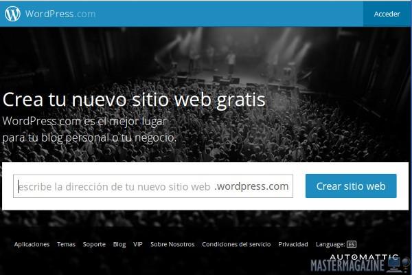 Página principal de WordPress.com, desde la cual ya podemos empezar a construir un blog