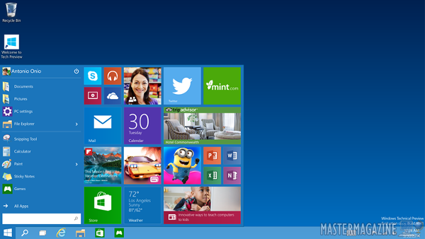 El escritorio de Windows 10 Technical Preview
