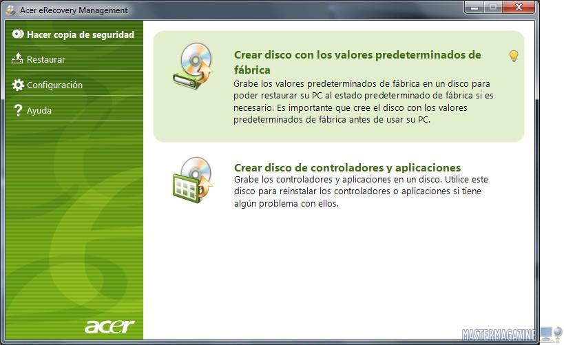 Imagen aplicación crear discos recuperacion.
