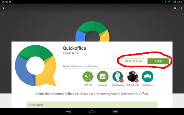 QuickOffice instalado recientemente en el sistema ¿como es eso posible? Mediante el truco que os estoy explicando