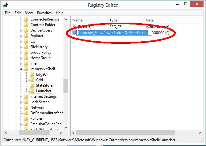 Variable Launcher_ShowPowerButtonOnStartScreen