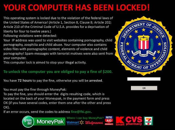 Un ejemplo de malware que secuestra archivos, además, con engaño (haciéndose pasar por el FBI)