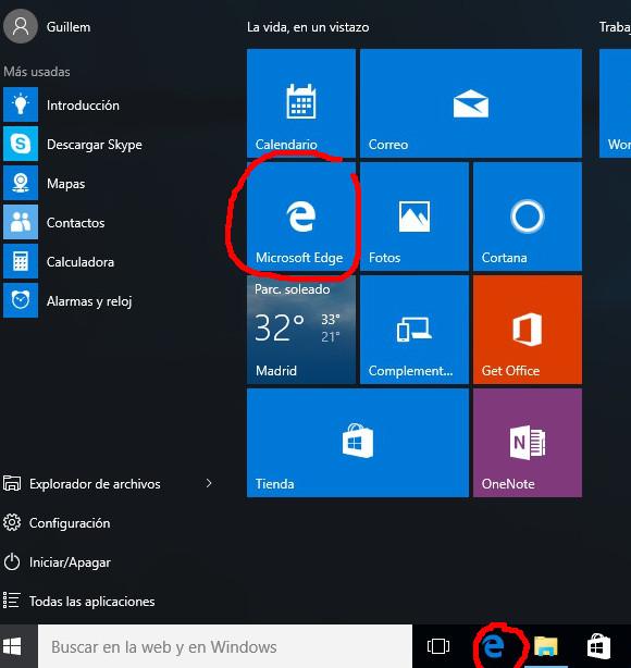 Iconos de acceso a Microsoft Edge