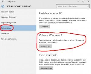 Cómo volver atrás después de actualizar a Windows 10 ?