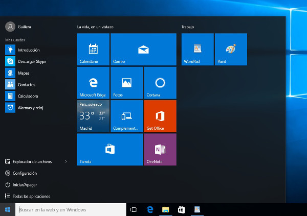 Tiles en el menú de Inicio de Windows 10