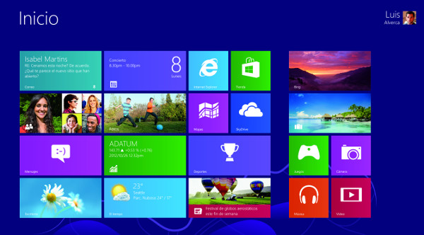 Inicio en Windows 8, con los 'tiles'