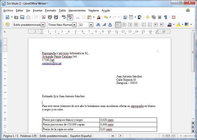 Cómo efectuar un mailing personalizado con LibreOffice