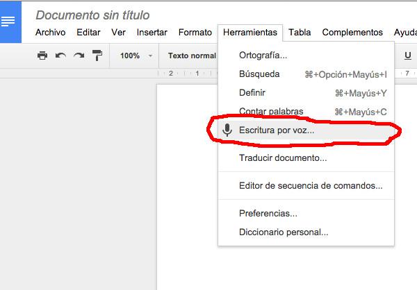 Utilizar el reconocimiento de voz de Google Docs