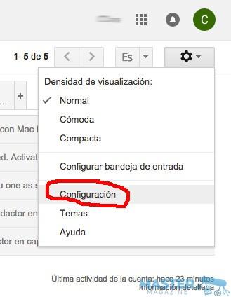 Activar las notificaciones de Gmail en el escritorio