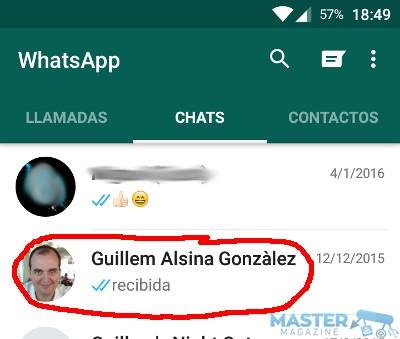 Crear acceso directo a las conversaciones de WhatsApp en Android