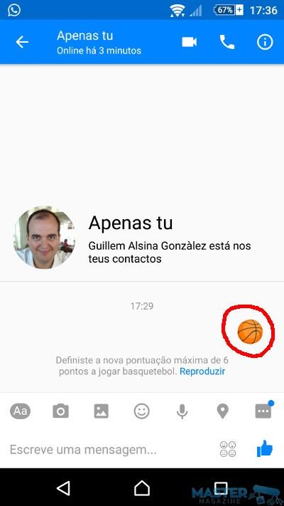 Un juego de encestar en Messenger para Android
