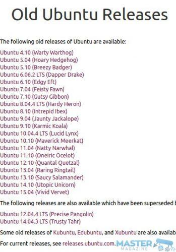 Lista de las versiones antiguas (y ya no soportadas mediante actualizaciones) que nos encontramos en los servidores de Canonical, en el apartado de Old Releases