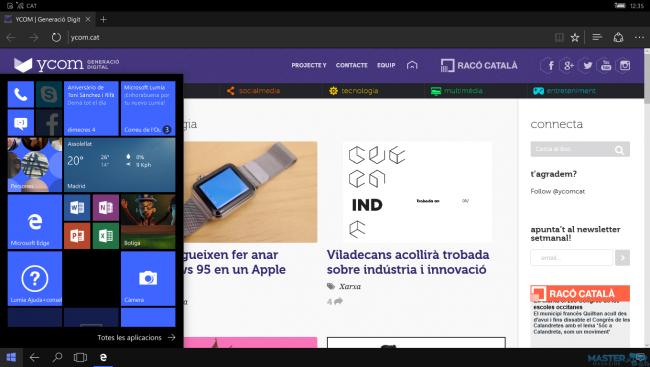 El entorno de trabajo de Windows 10 Continuum. Clic para ampliar