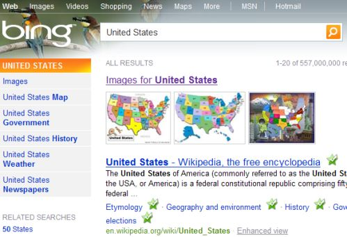 El buscador de Imágenes de Bing