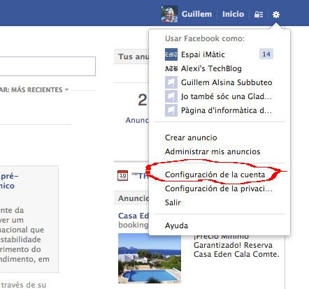 Selección de las opciones de configuración de Facebook