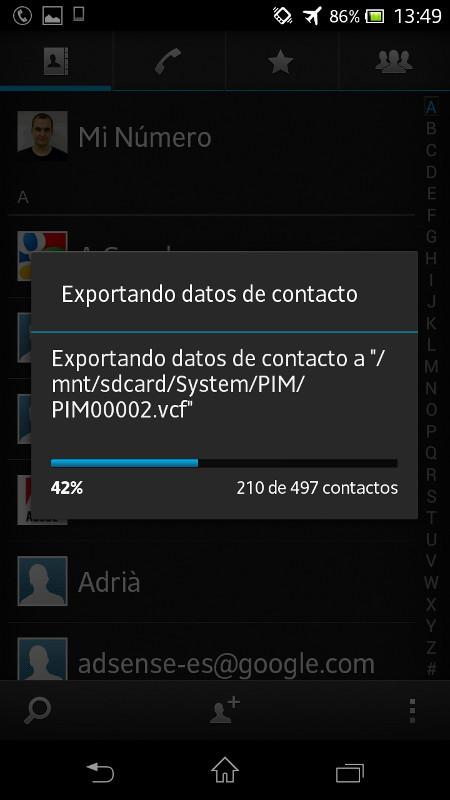 Exportar contactos de tu teléfono Android